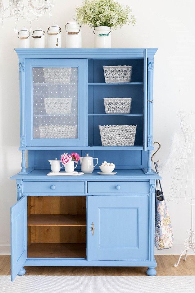 Shabby Chic Möbel Stück: Küchen Buffet in Blau, restaurierter ...