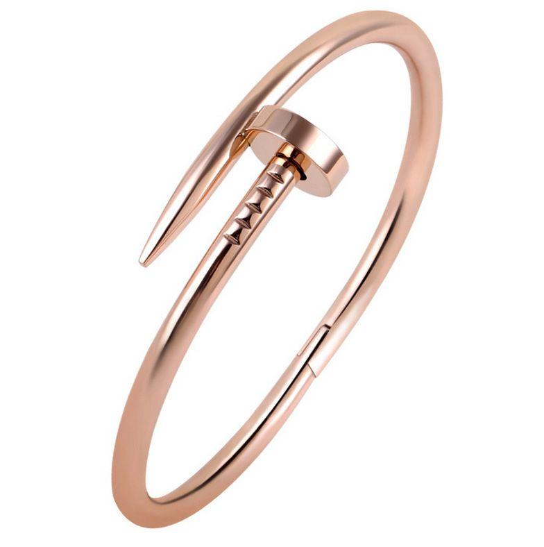 Aliexpress Com Comprar Nueva Llegada Del Acero Inoxidable Clavo Pulsera De Plata Oro Rosa 18 K Oro Verdadero Platead Bangles Silver Bracelets Cuff Bangles