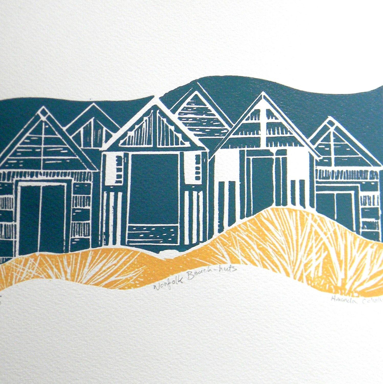 Norfolk Beach Huts, lino print by Mangleprints