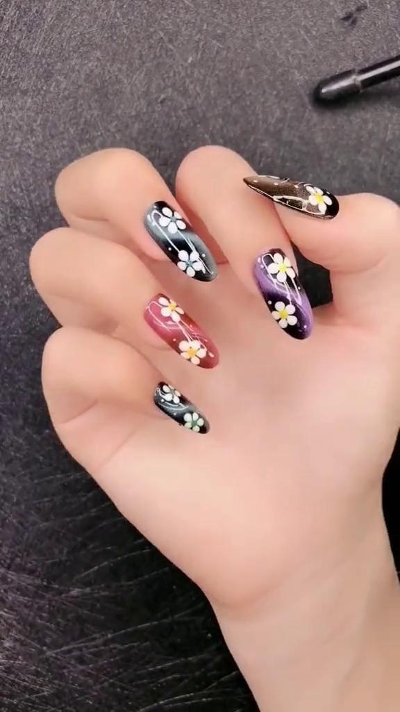 DIY Nails | Cat eyes & Flower Nail Design Looking