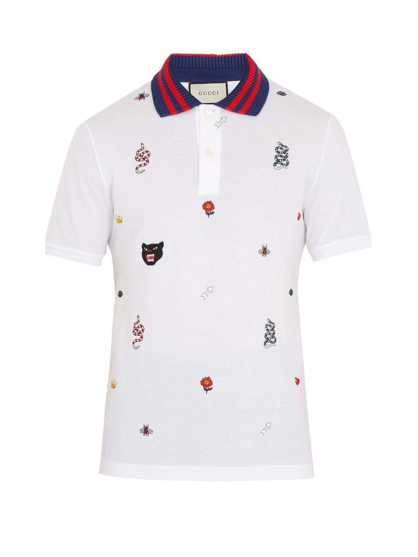 0fc9cf3bb80df3 Embroidered stretch-cotton piqué polo shirt | Gucci | MATCHESFASHION ...