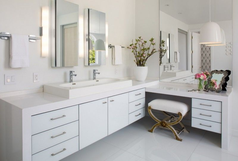 White Bathroom With White Ceiling Wall Flooring L Shaped Vanity