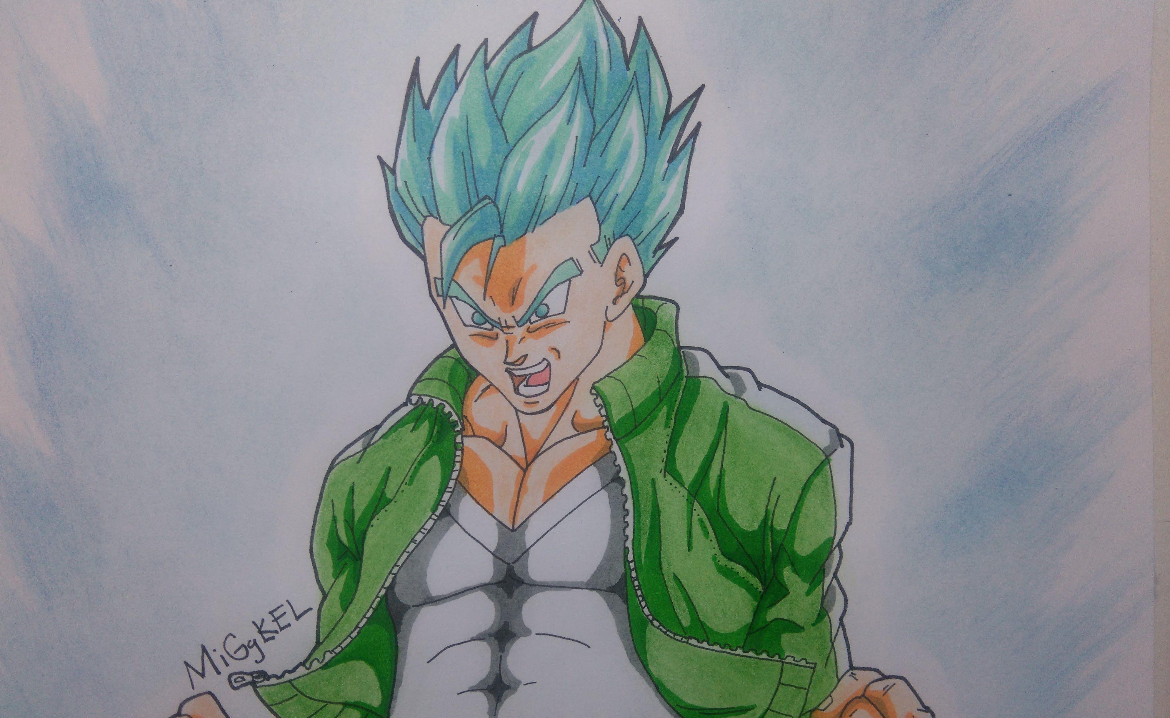 Como Dibujar A GOHAN Super Saiyajin Dios SS Azul. How To
