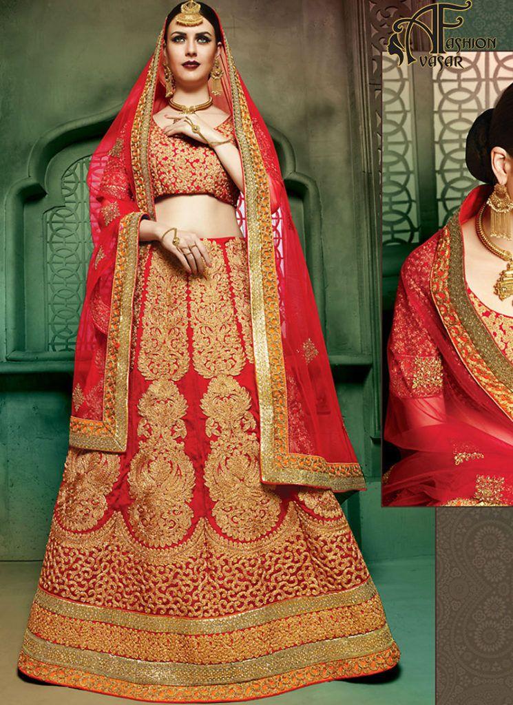 0c7d76b80a1 Blood Red Colour Bridal Lehenga