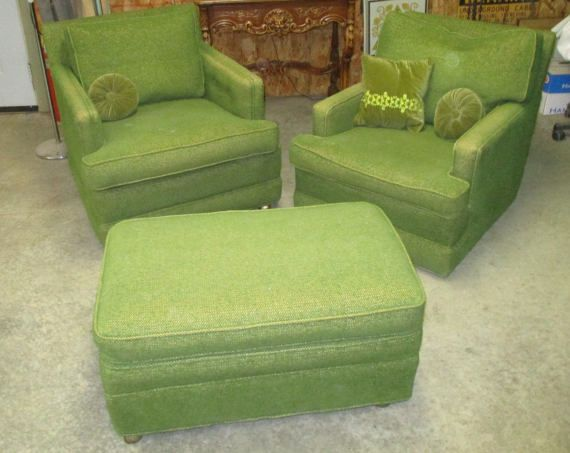60s 70s Retro Green Chairs Ottoman Set Mid Century Lounge Vintage Furniture