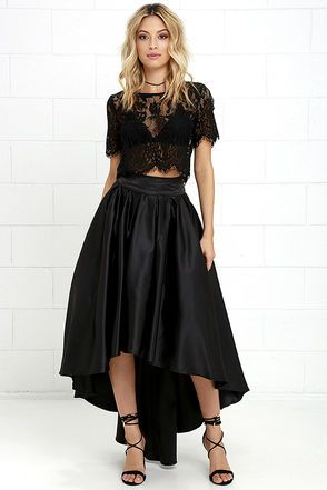 Modern Mystery Black Satin High-Low Skirt | More High low skirt ...