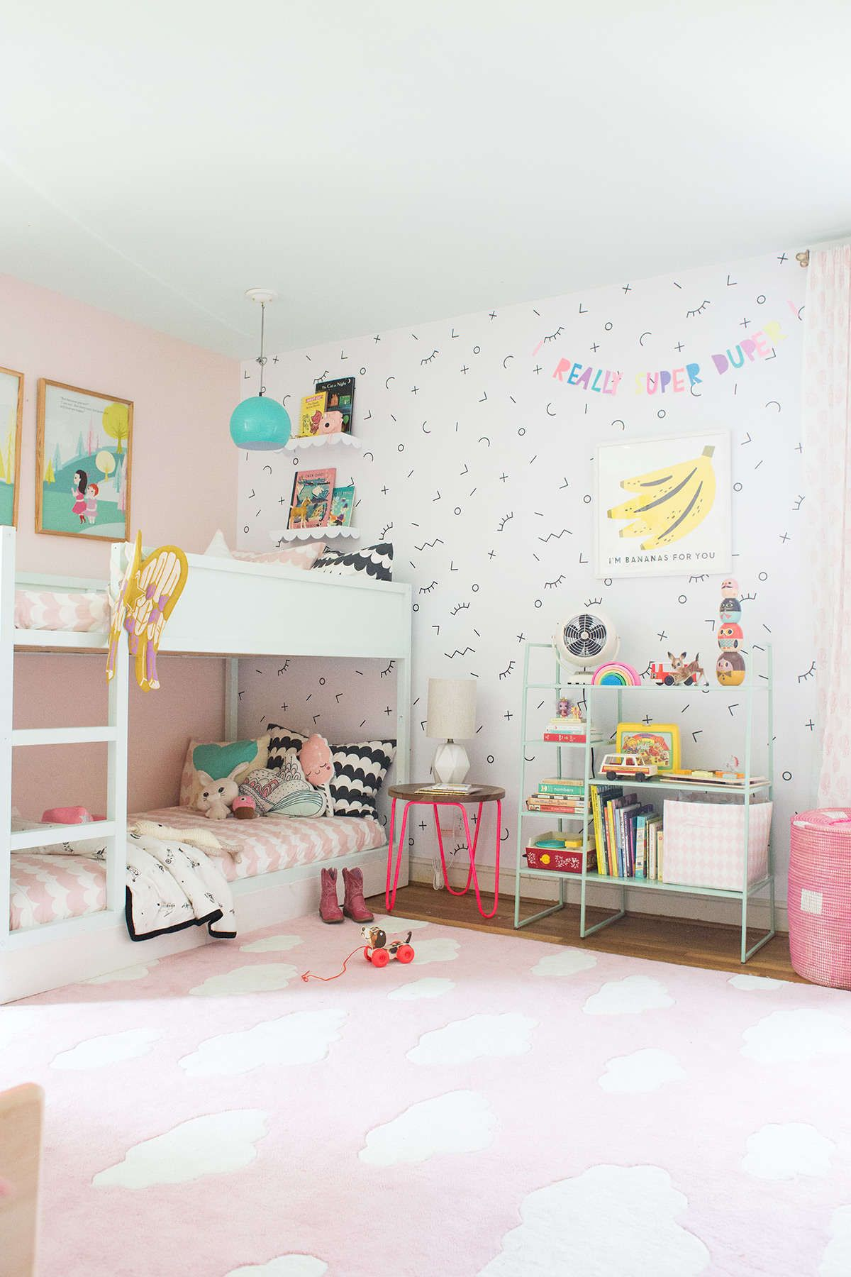 A Shared Bedroom With Bunk Beds Lay Baby Lay Simple Kids Rooms Shared Girls Bedroom Kid Room Decor