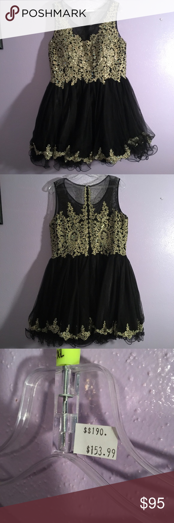 Prom dress short gold and black prom dress originally bought at