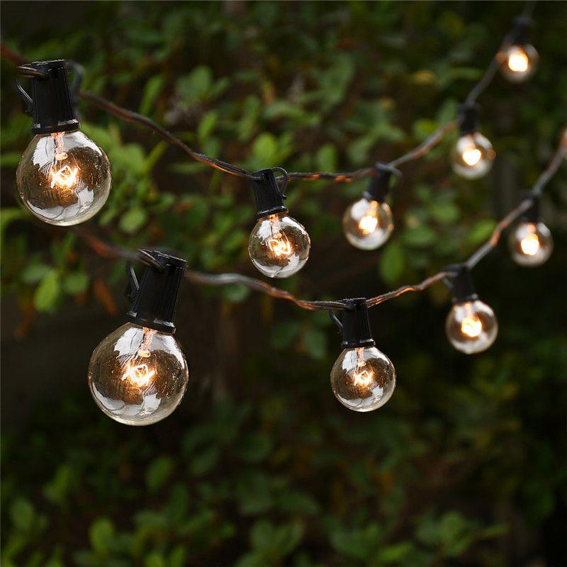 Luces de la secuencia con 25 g40 mundo bombillas ul para for Luces colgantes para jardin