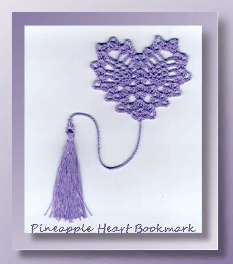 Pineapple Heart Bookmark Crochet Pattern For A Valentine Heart