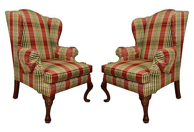 Wingback Plaid Chairs Pair On Onekingslane Com Plaid