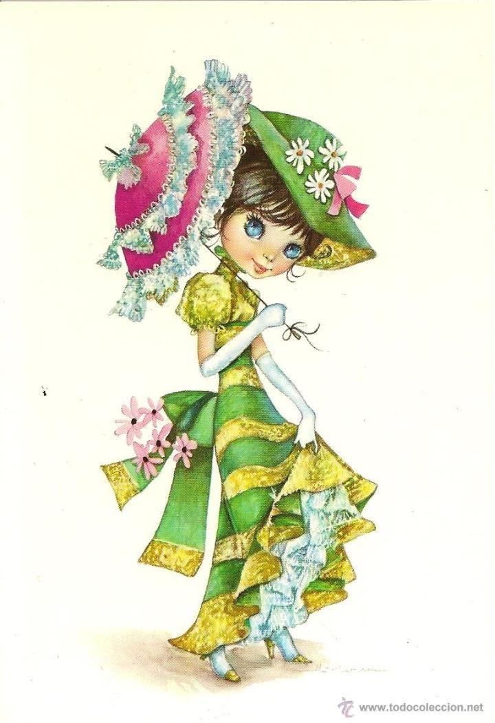 Bonita Postal Elegante Senorita Edita Cyz Nº 6695 Deposito Legal Ano Del 1966 Dibujo Mª Gloria Dibujo Animales Infantiles Dibujos Ilustraciones