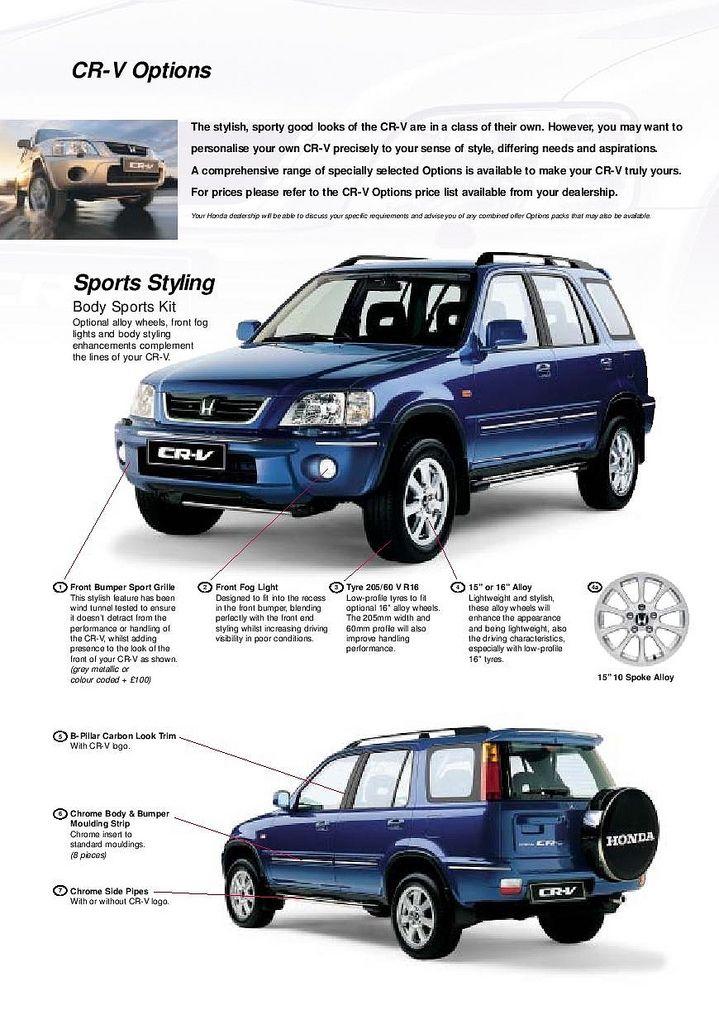 Honda Cr V Mk1 Uk Accessory Brochure 2000 With Images