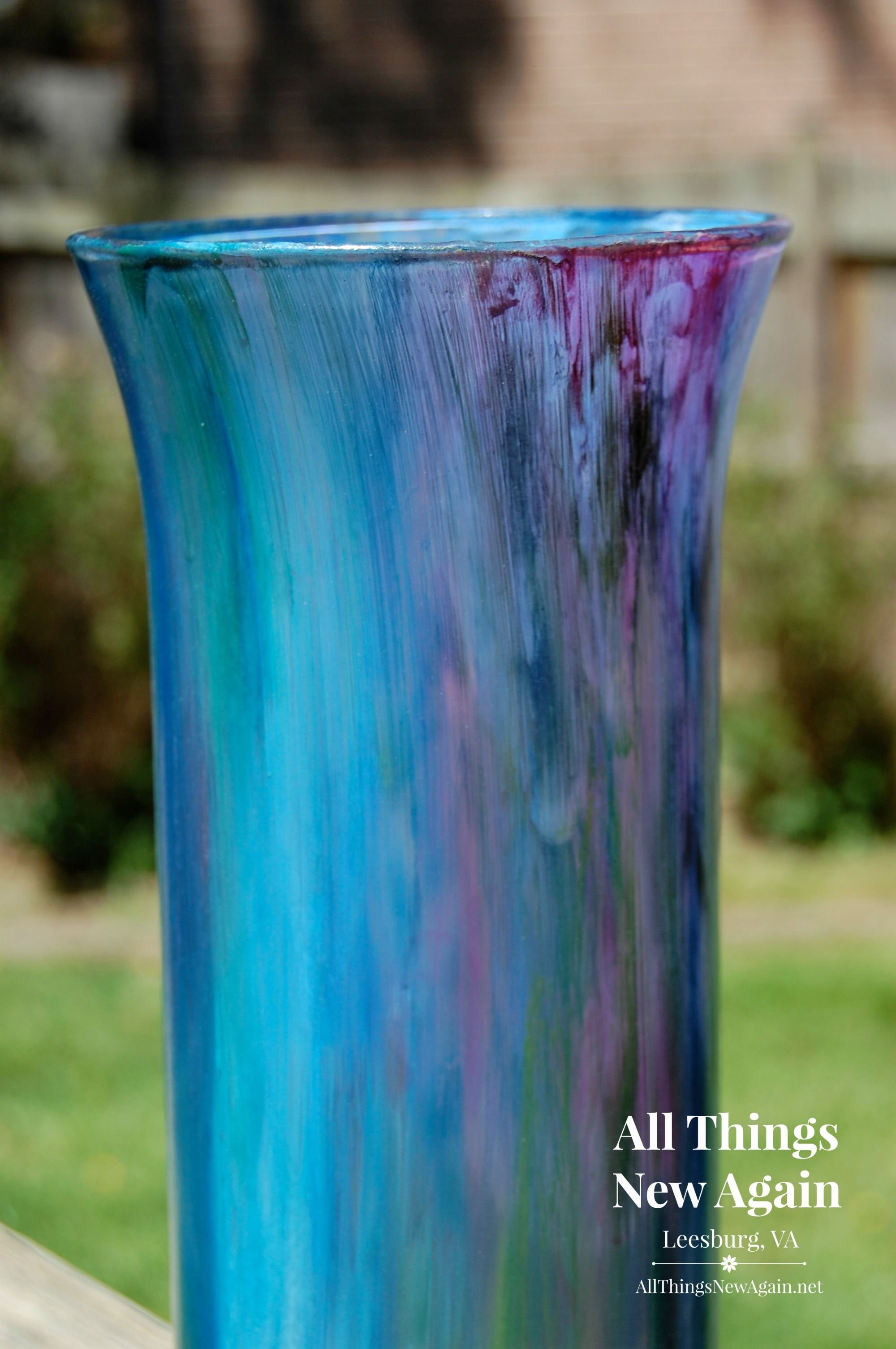 $1 vase transformed with Unicorn Spit non-toxic rainbow gel stain. See the  full tutorial on this technique at www.AllThingsNewAgain.net