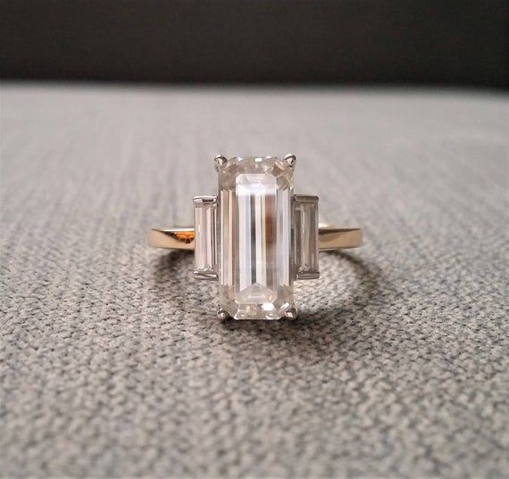 "Photo of Custom Step Cut EF Moissanite Enagement Ring Two Tone 14k Gold Classic Antique  High End Art Deco Gemstone Bohemian Modern "" The Elodie"""
