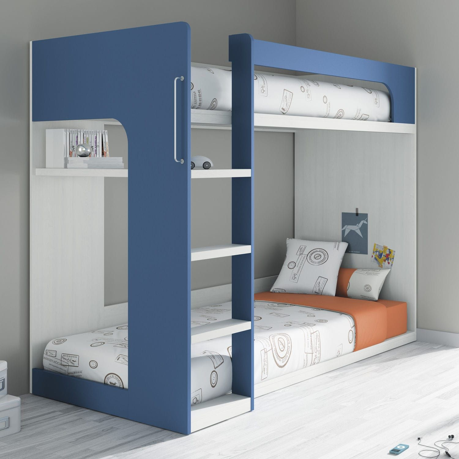 Single Bed Bunk Contemporary Melamine Touch 64 Ros 1 S A