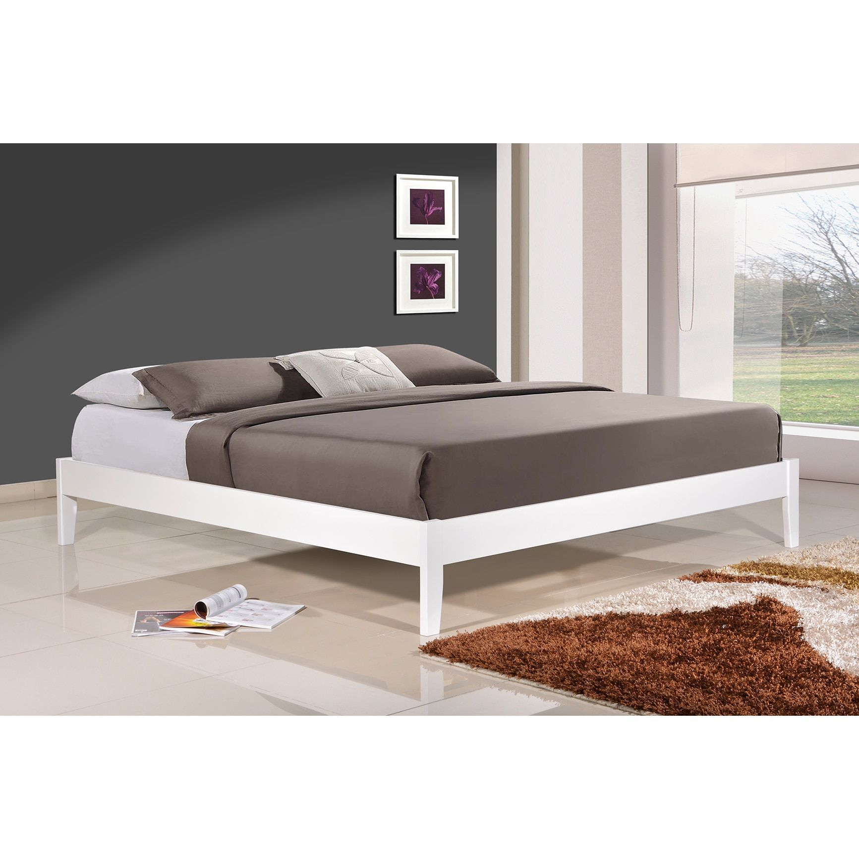 altozzo home manhattan queen size solid wood white platform bed