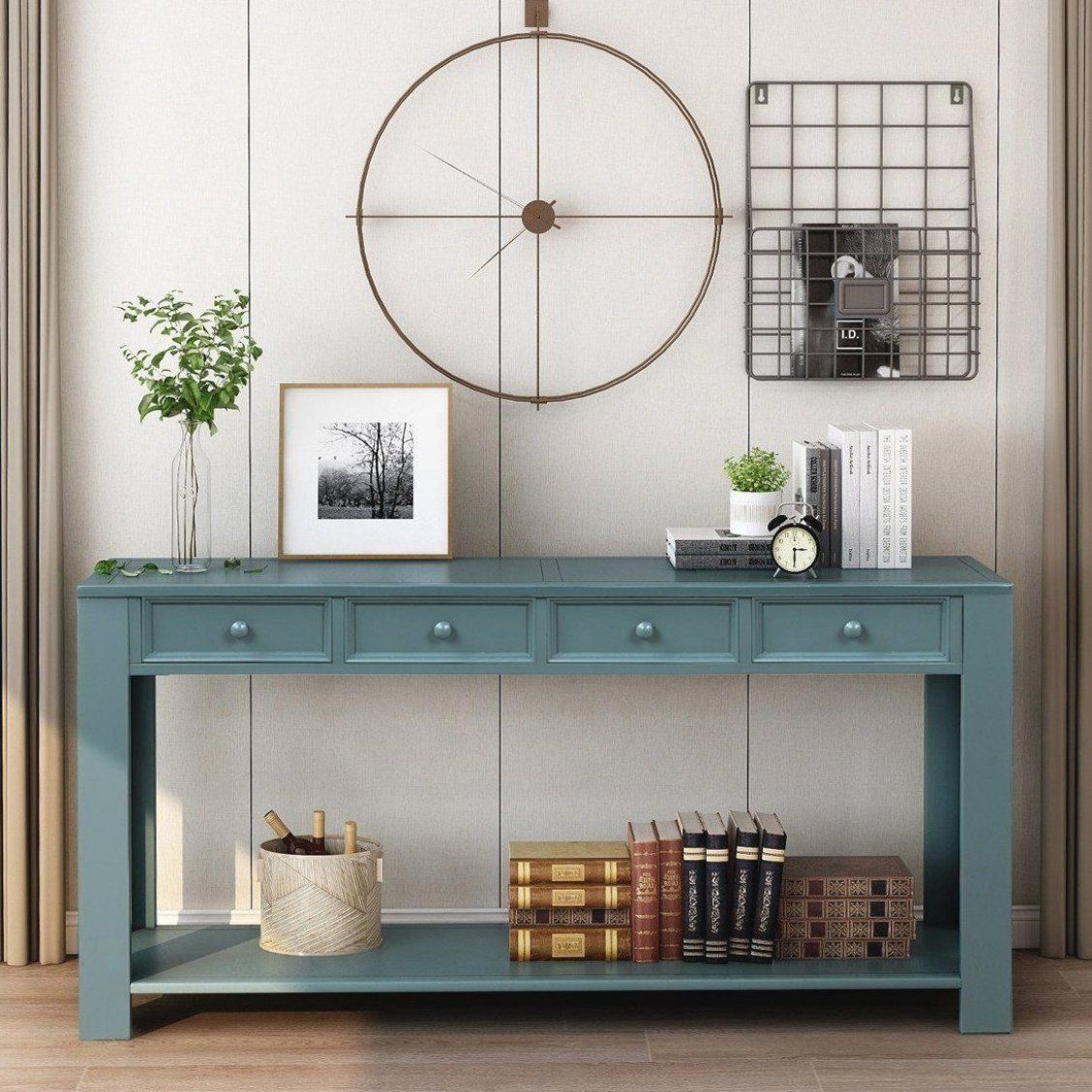 Console Table For Entryway Hallway Sofa Table With Storage Drawers And Bottom Shelf Dark Blue In 2020 Sofa Table With Storage Console Table Wood Console Table
