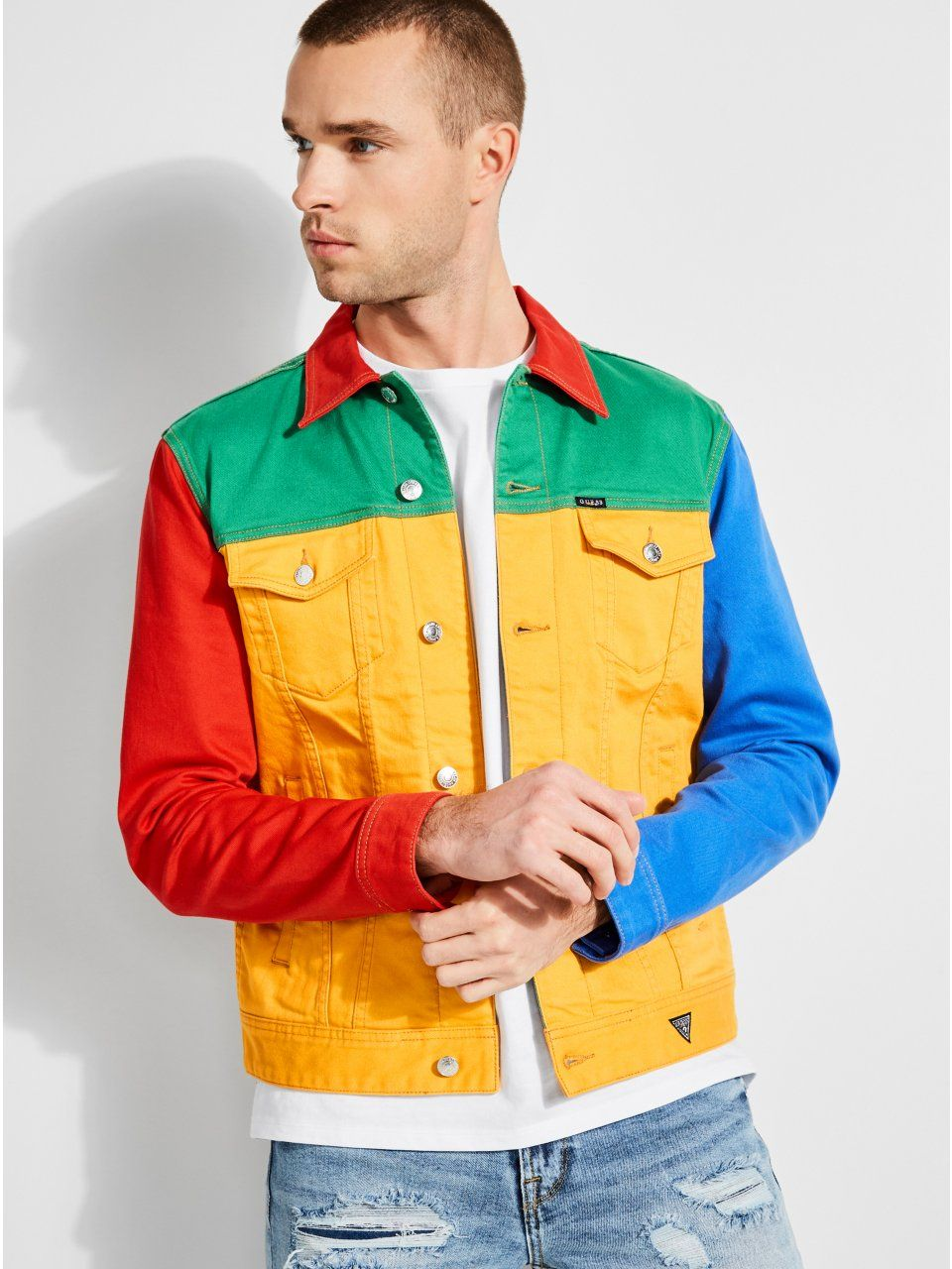 20c9a31e GUESS x J Balvin Color-Block Denim Jacket in 2019 | Products ...
