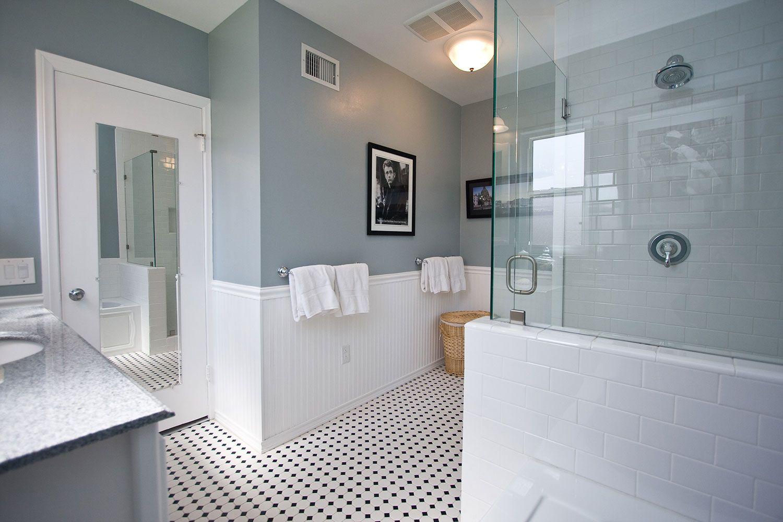 Vintage Design Style Bathrooms By One Week Bath Black And White Tiles Bathroom White Bathroom Tiles White Traditional Bathrooms
