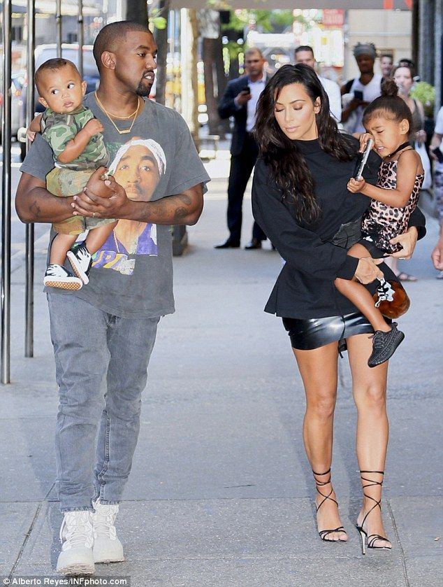 Kim And North Lead The Way In Nyc As Kanye And Saint Try To Keep Up Kim Kardashian And Kanye Kanye West And Kim Kim And Kanye