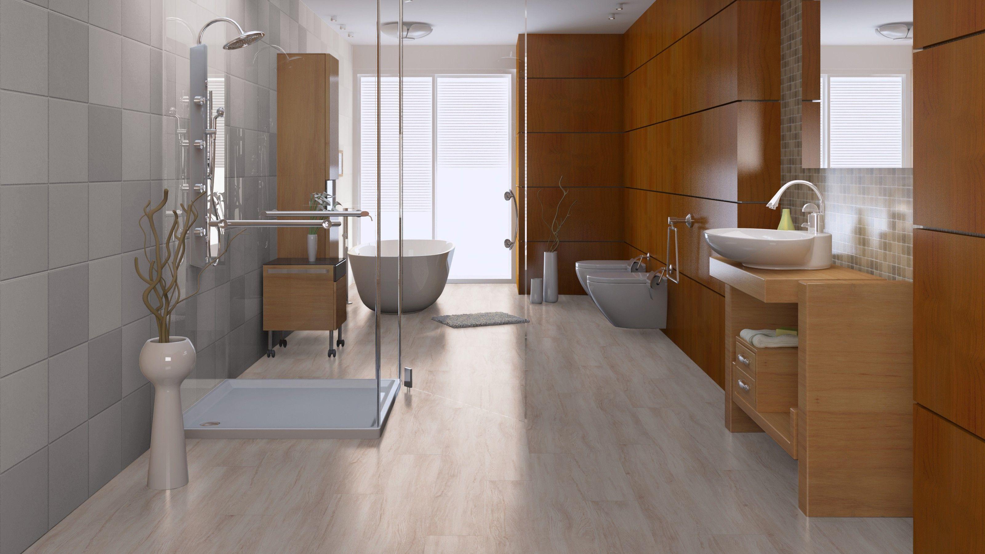 badkamer met mflor grand chesham oak wonder op de vloer