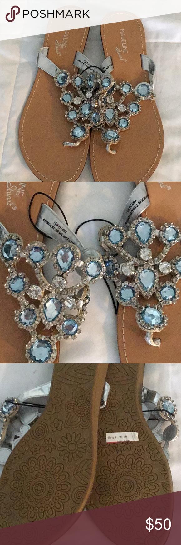 NEW Madeline Stuart jeweled sandals New Madeline Stuart sandals with blue stones and silver crystals Madeline Stuart Shoes