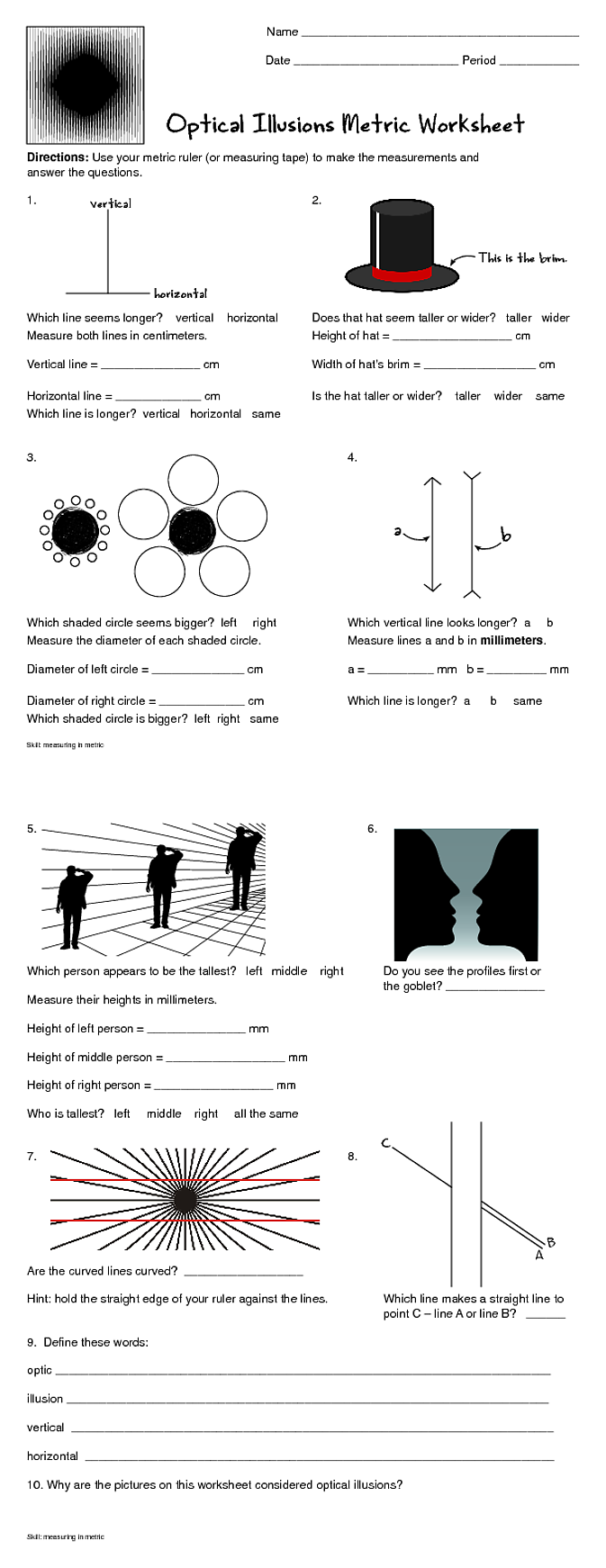 Worksheets Optical Illusion Worksheets fun metric worksheets from nancy b and hosted by imgur com