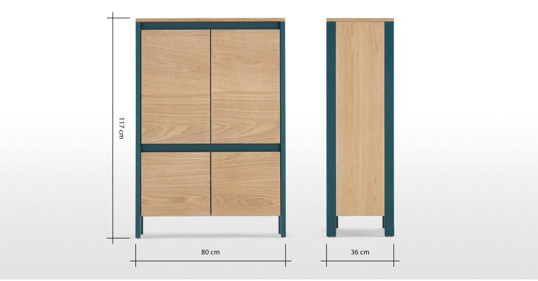 VonHaus Capri Sideboard 5 Shelves Oak Effect Tall Hallway Table Hairpin Legs