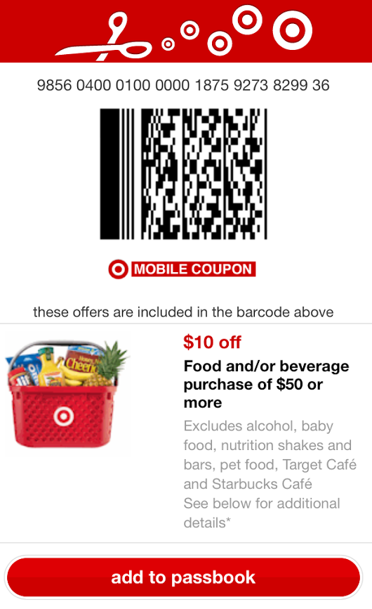 Target Mobile Coupon Deals 2/5 Produce, 10/50 Grocery