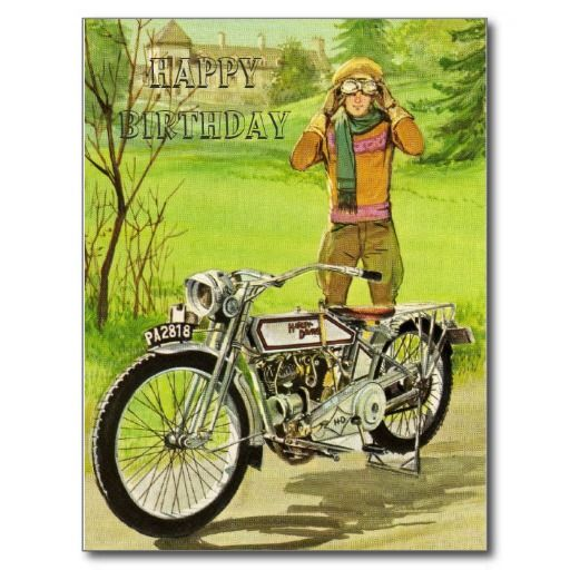 Happy Birthday Motorcycle Postcard Zazzle Com With Images