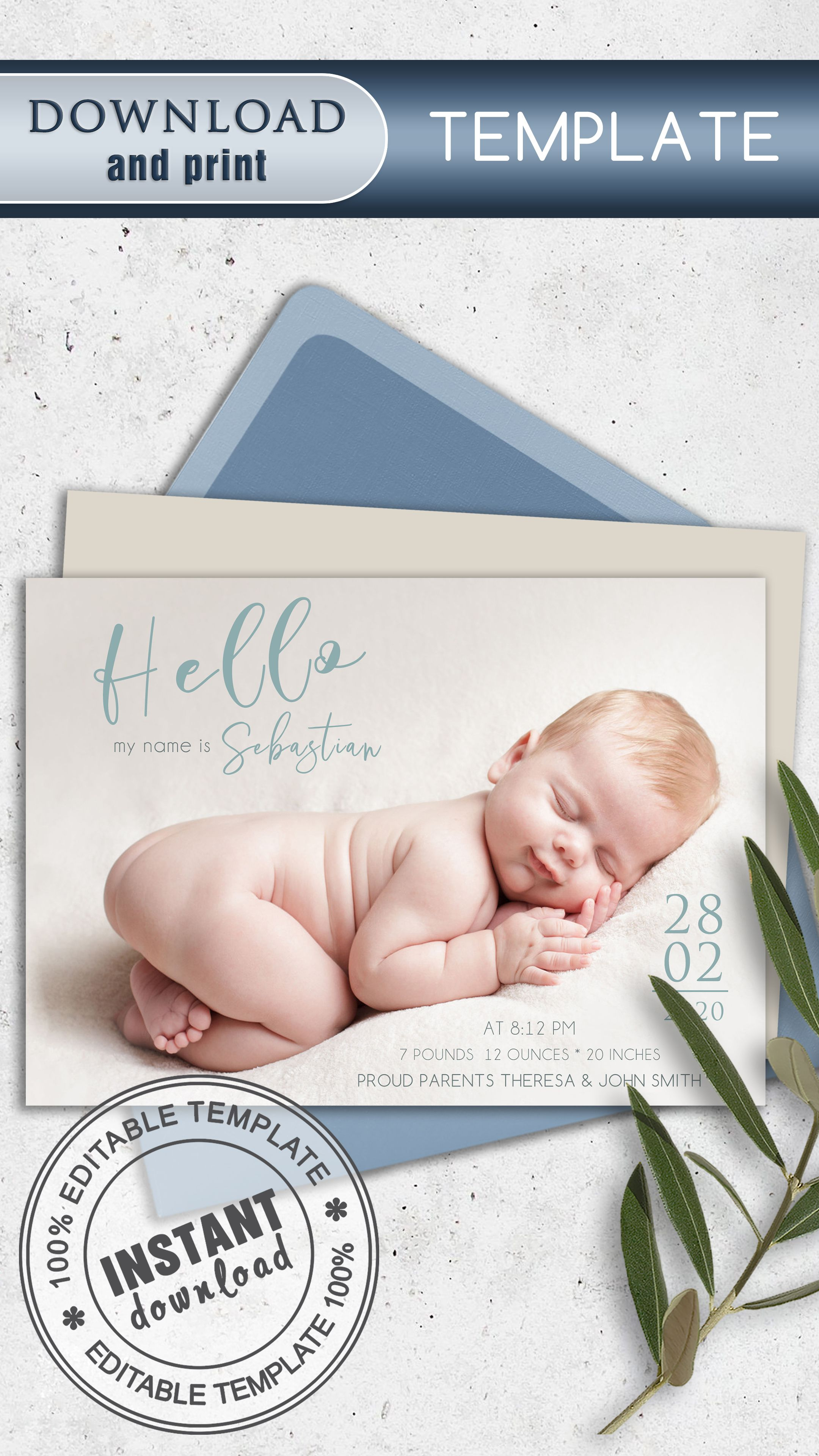 Birth Announcement Template Baby Announcement Editable Birth Announcement Baby Birth Card Personalized Newborn Card Template In 2020 Baby Announcement Birth Announcement Template Baby Announcement Cards