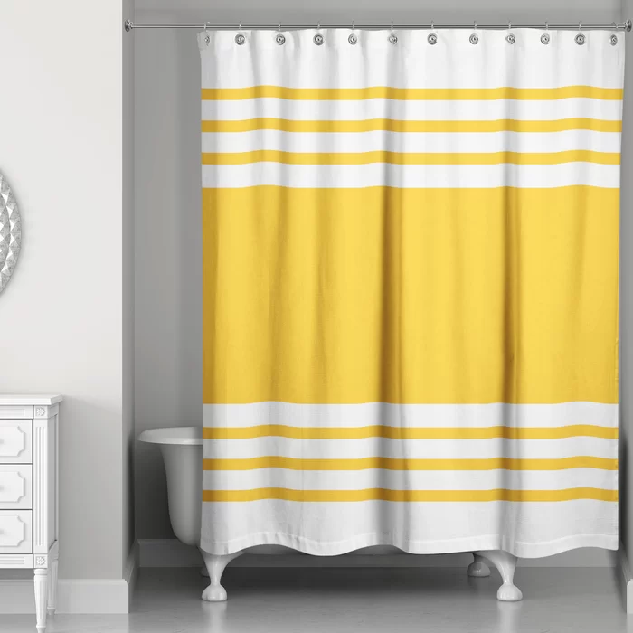Mablethorpe Stripe Single Shower Curtain Yellow Shower Curtains Shower Curtain Curtains