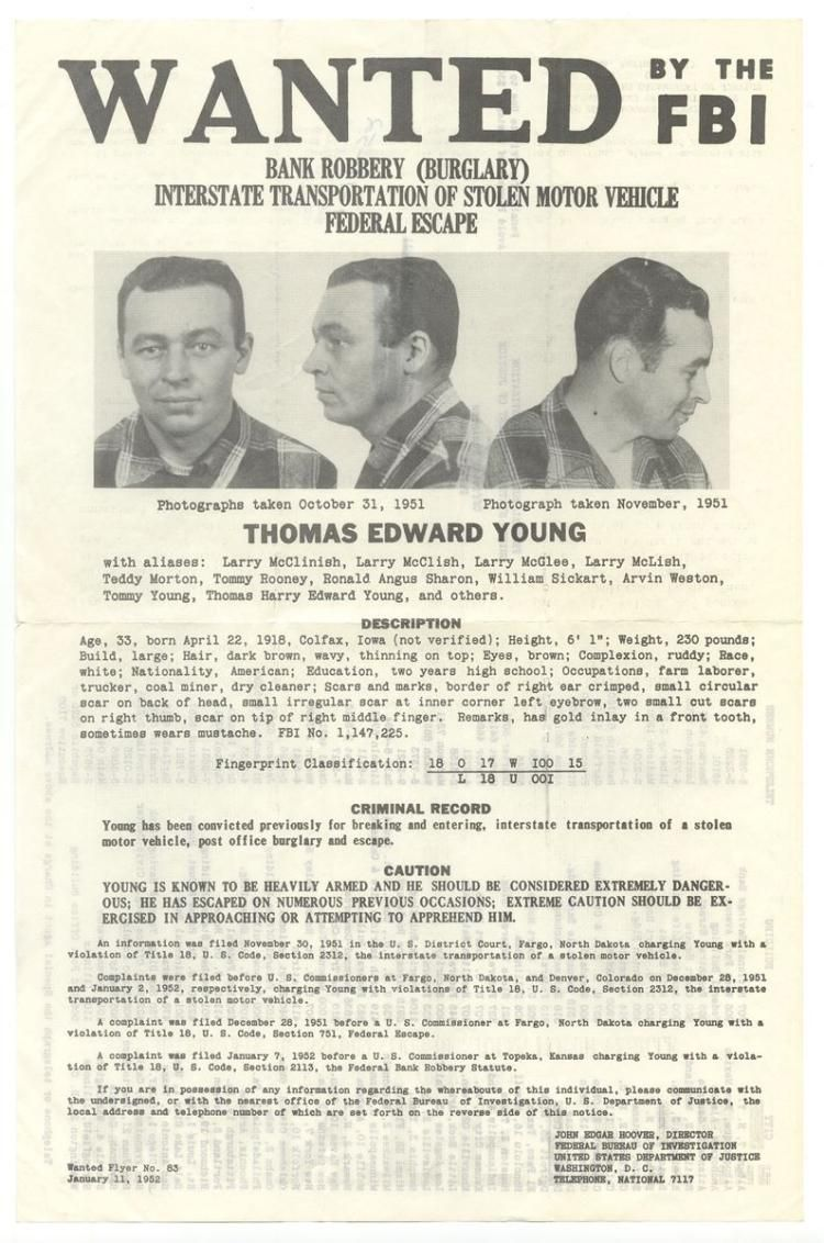 The vintage mugshots of shoplifters bank robbers and murderers from - Thomas Edward Young Bank Robbery Wanted By The Fbi Poster