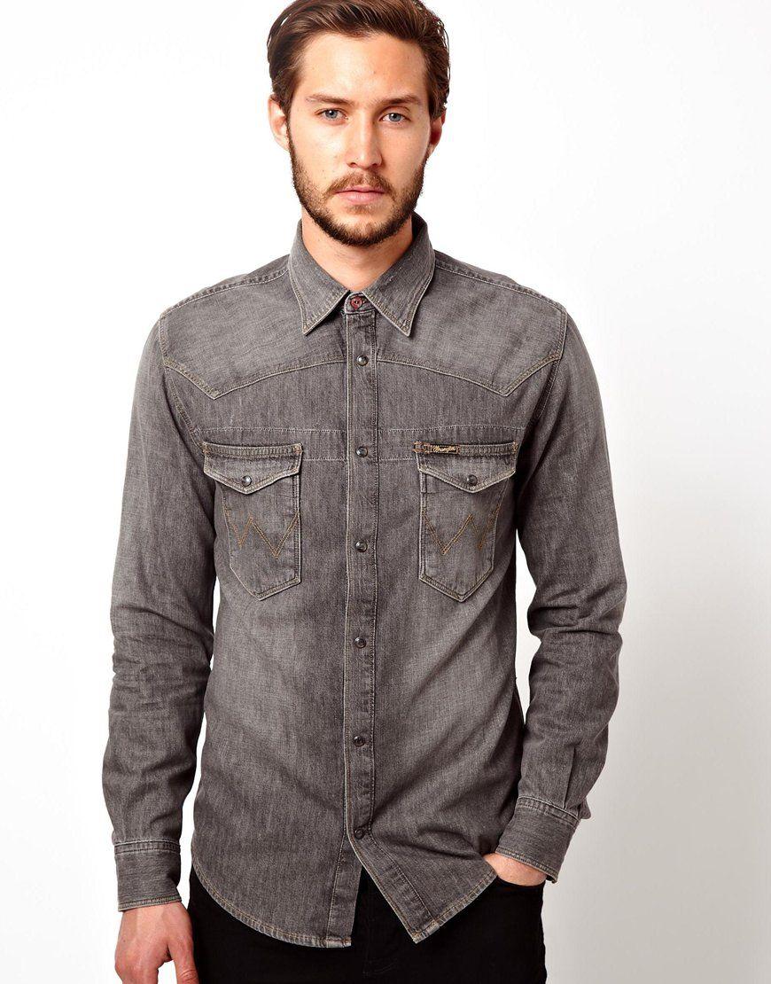 Wrangler Denim Shirt Slim Fit Western Back To Back