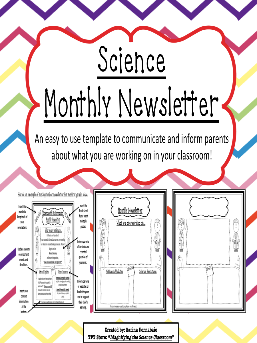 Science Monthly Newsletter Editable Templates Tpt Magnifying The