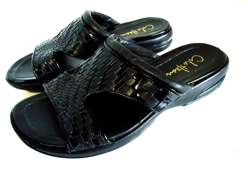 Cole Haan Nike Air Black Patent Leather Woven Slide Sandal