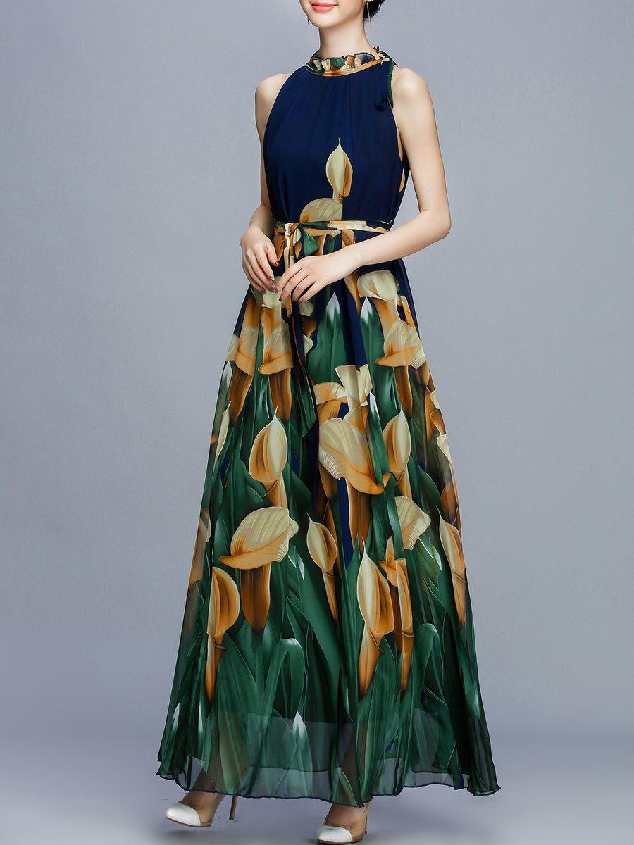 Shop Maxi Dresses - Vintage Sleeveless Floral Maxi Dress online. Discover unique designers fashion at StyleWe.com.