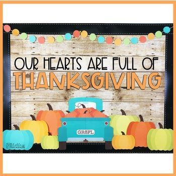 Thanksgiving Bulletin Board or Door Kit - Blue Truck Theme