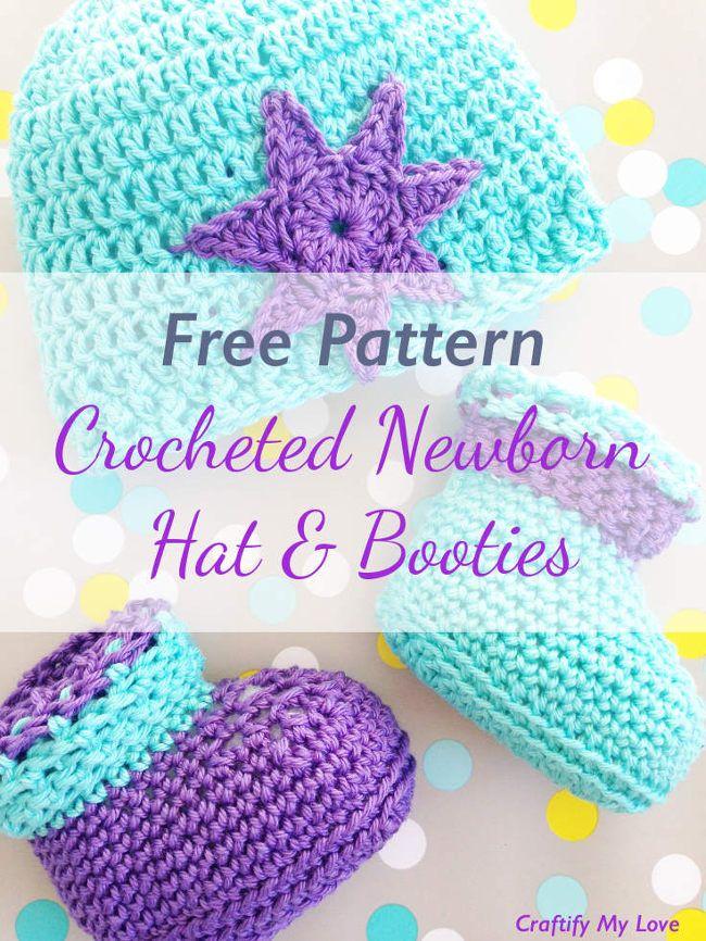 Crocheted Newborn Booties - Free Pattern | Bebe