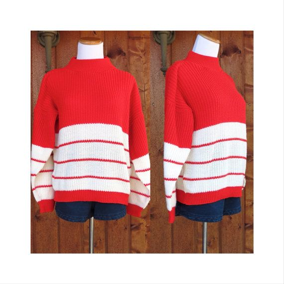 Slouchy Striped Sweater Vintage 70's Where's Waldo Top Red White ...