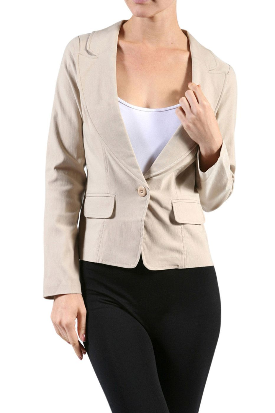 Tailored Long Sleeve Single Button Blazer