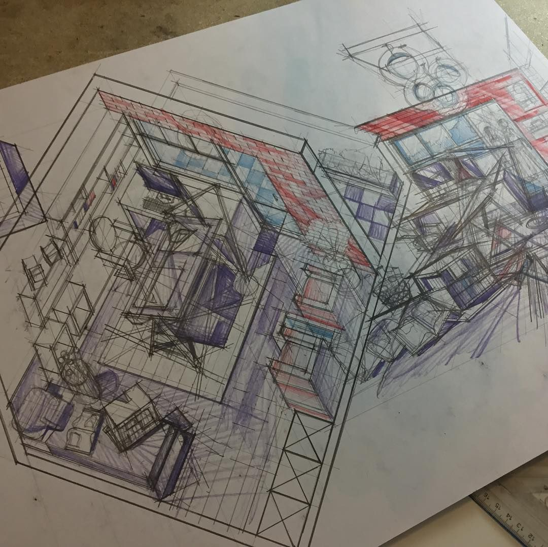 Architecture Student Room Basic Interior Design Perspective And