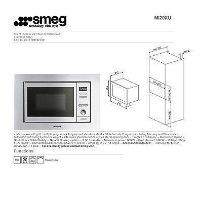 Smeg Classic 24-Inch Built-In Microwave with Trim Kit in Stainless Steel $500.00 bed bath beyond ...
