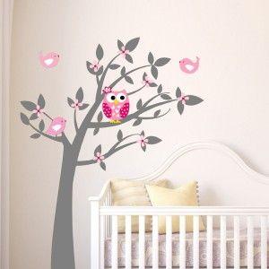 exclusive muursticker uil in boom (grijs roze) - babykamer, Deco ideeën