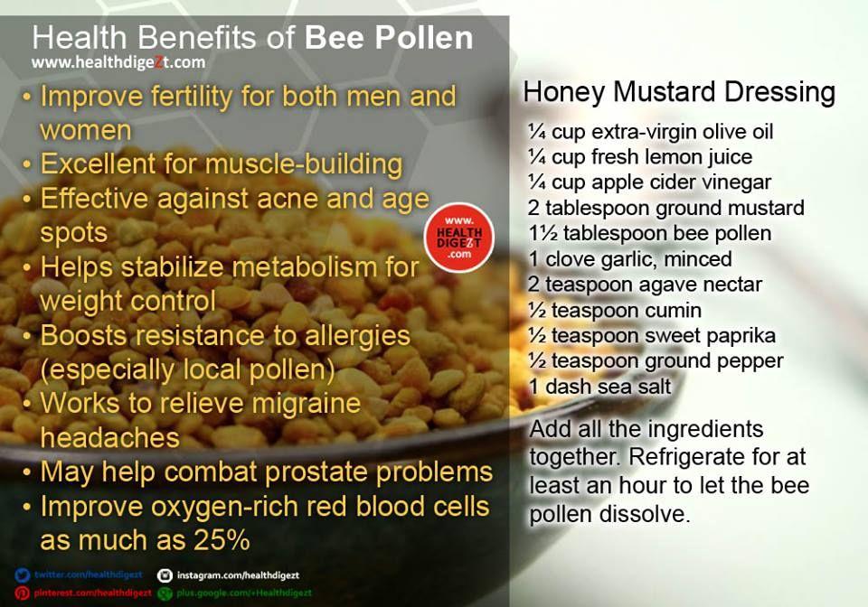 Health Benefits of Bee Pollen  Get your 100% Natural Bee Pollen Here: http://amzn.to/1rW7bKR   #healthdigezt #health #diet #beauty #nutrition #exercise #food #new #homeremedies #wellness #fitness