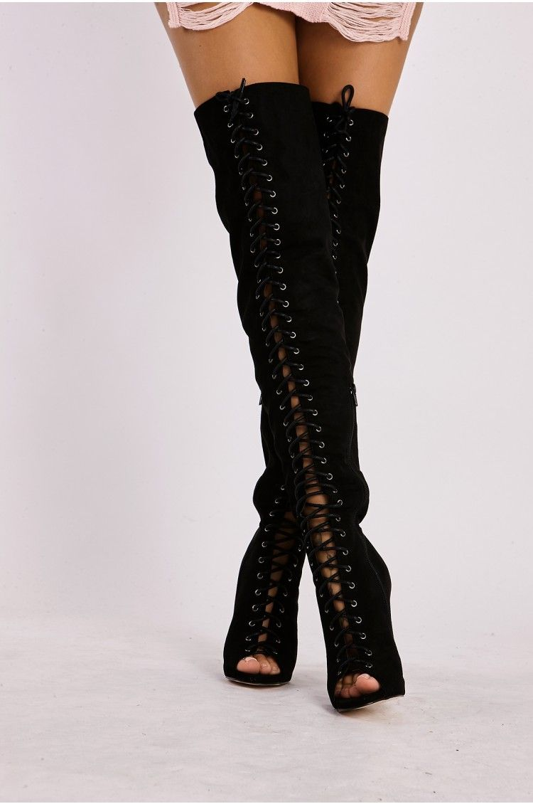 knee high boots lace up front buy 52fe1