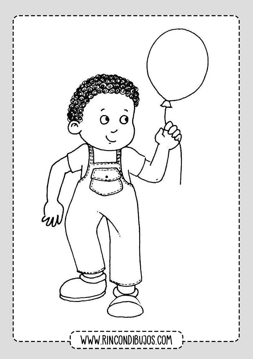 Dibujo De Nino Con Globo Rincon Dibujos Dibujos Para Ninos Ninos Con Globos Ninos