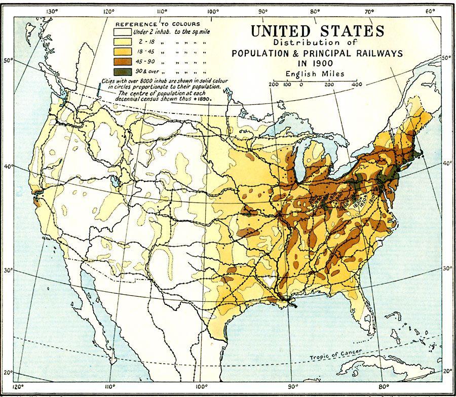 Us Population Map 1900 1900) United States Population Density   United states map