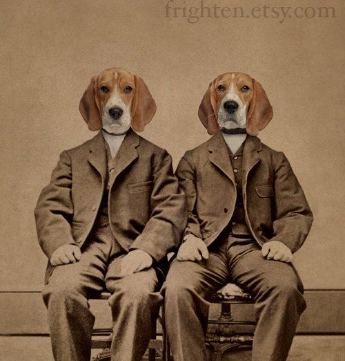 Beagle Dog Art Print Beagle Boys Altered Antique By Frighten